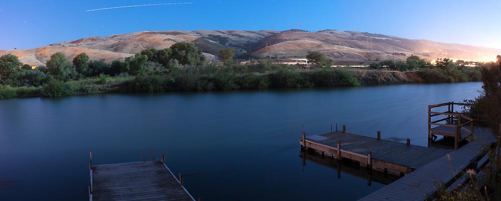 Moonlit night over Metcalf Pond. San Jose, CA