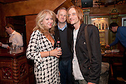 SONIA FRIEDMAN; DOMINIC COOKE; MACKENZIE CROOK, Opening in the West end of the Royal Court's Jerusalem after a run on Broadway..<br /> WAXY O CONNORS, 14-16 RUPERT STREET, LONDON . 17 October 2011.  <br /> <br />  , -DO NOT ARCHIVE-© Copyright Photograph by Dafydd Jones. 248 Clapham Rd. London SW9 0PZ. Tel 0207 820 0771. www.dafjones.com.