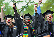 School of Drama graduates Alex Trow of Colorado, Lupita Nyong'o of Kenya,and Fisher Neal of Tennessee celebrate during Yale University's commencement exercises in New Haven, Conn., Monday, May 21, 2012.(AP Photo/Jessica Hill)