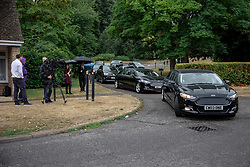 © Licensed to London News Pictures. 30/07/2018. Salisbury, UK. The cortege leaves Salisbury Crematorium after the funeral of Dawn Sturgess, who died on 8 July 2018 after exposure to the nerve agent Novichok. Special safety measures have been put in place to protect mourners attending the ceremony. Photo credit: Rob Pinney/LNP