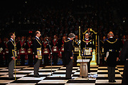 Prince Edward, The Duke of Kent at a Masonic ceremony at Earls Court in London. Freemasonry, which traces it's modern origins back to the sixteenth century is beased on principles of fraternity and secrecy. Members are sworn to keep silent on their activities and make themselves known to other Freemason's by way of signal (often a handshake).
