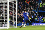 Diego Costa of Chelsea celebrates after scoring his sides 1st goal to make it 1-2. . Barclays Premier league match, Chelsea v Everton at Stamford Bridge in London on Saturday 16th January 2016.<br /> pic by John Patrick Fletcher, Andrew Orchard sports photography.