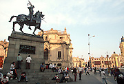 PERU, LIMA the statue of Francisco Pizarro, the Conqueror of the Incas, on a corner of the Plaza de Armas