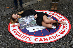 Sister of Jade Lagardère (Arnaud Lagardère's wife), the young star of the social networks Cassandra Foret with PeTA Animal rights activists protest against Canada Goose company, in Paris, France, on December 22, 2017. The company, which is famed for their winter parkas, has come under increasing criticism for their use of coyote fur to trim their jackets and down to fill them. Photo by Alain Apaydin/ABACAPRESS.COM