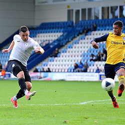 TELFORD COPYRIGHT MIKE SHERIDAN GOAL. HATTRICK. Aaron Williams of Telford  scores his third goal of the game to make it 4-1 during the Vanarama National League Conference North fixture between AFC Telford United and Guiseley on Saturday, October 19, 2019.<br /> <br /> Picture credit: Mike Sheridan/Ultrapress<br /> <br /> MS201920-026