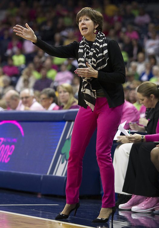 February 02, 2013:  Notre Dame head coach Muffet McGraw during NCAA Basketball game action between the Notre Dame Fighting Irish and the Cincinnati Bearcats at Purcell Pavilion at the Joyce Center in South Bend, Indiana.  Notre Dame defeated Cincinnati 64-42.