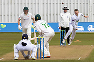 Mason Crane bowling to Alex Evans during Day 3 of the LV= Insurance County Championship match between Leicestershire County Cricket Club and Hampshire County Cricket Club at the Uptonsteel County Ground, Leicester, United Kingdom on 10 April 2021.