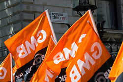 © Licensed to London News Pictures. 26/05/2015. London, UK. Downing Street garden workers stage a protest outside Downing Street in London. Gardeners from the GMB trade union are taking strike action today at Downing Street following a dispute over pay. Photo credit : Vickie Flores/LNP