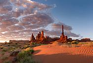 Totem Pole rock formation, sunrise, Monument Valley, Arizona