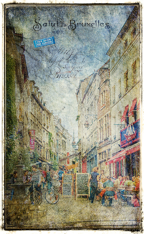 Rue de Rollebeek, Sablon, Brussels, Belgium - Forgotten Postcard digital art collage