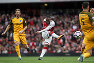 Alexandre Lacazette Of Arsenal shoots at goal in the first chance of the game.<br /> Premier league match, Arsenal v Brighton & Hove Albion at the Emirates Stadium in London on Sunday 1st October 2017. pic by Kieran Clarke, Andrew Orchard sports photography.