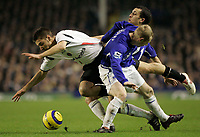 Photo: Dave Howarth.<br /> Everton v Charlton Athletic. The Barclays Premiership.<br /> 02/01/2005.  Charlton's Darren Ambrose is squeesed out bt Everton's Tony Hibbert and ??