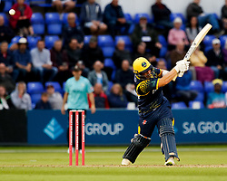 Glamorgan's David Lloyd gets out to Surrey's Jade Dernbach<br /> <br /> Photographer Simon King/Replay Images<br /> <br /> Vitality Blast T20 - Round 14 - Glamorgan v Surrey - Friday 17th August 2018 - Sophia Gardens - Cardiff<br /> <br /> World Copyright © Replay Images . All rights reserved. info@replayimages.co.uk - http://replayimages.co.uk