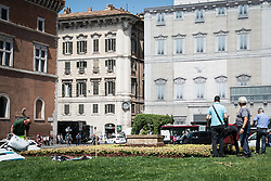 April 27, 2018 - Rome, Italy, Italy - The wolf arrives in Piazza Venezia. Green and lush here is the new hedge that was planted in the gardens in front of the Altar of the homeland. A work of shears and precision for gardeners who, like so many ''Edward scissor hands'', have transformed the boxwood plant in the capital she-wolf, symbol of the capital, of the ''Magic'', as well as adoptive mother of Romolo and Remolo  on April 27, 2018 in Rome, Italy  (Credit Image: © Andrea Ronchini/NurPhoto via ZUMA Press)
