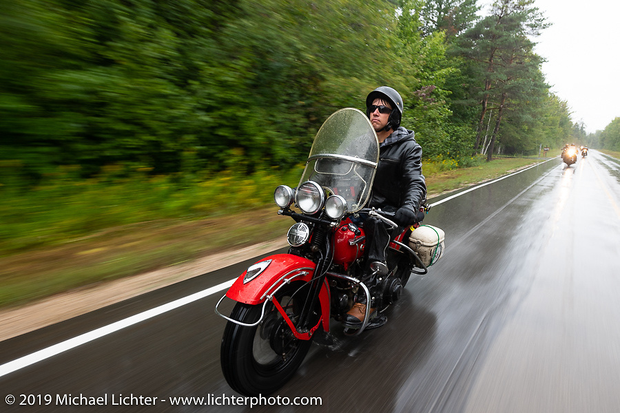 Canadian John Phillips riding his 1947 Harley-Davidson EL Knucklehead in the Cross Country Chase motorcycle endurance run from Sault Sainte Marie, MI to Key West, FL. (for vintage bikes from 1930-1948). Stage 1 from Sault Sainte Marie to Ludington, MI USA. Friday, September 6, 2019. Photography ©2019 Michael Lichter.