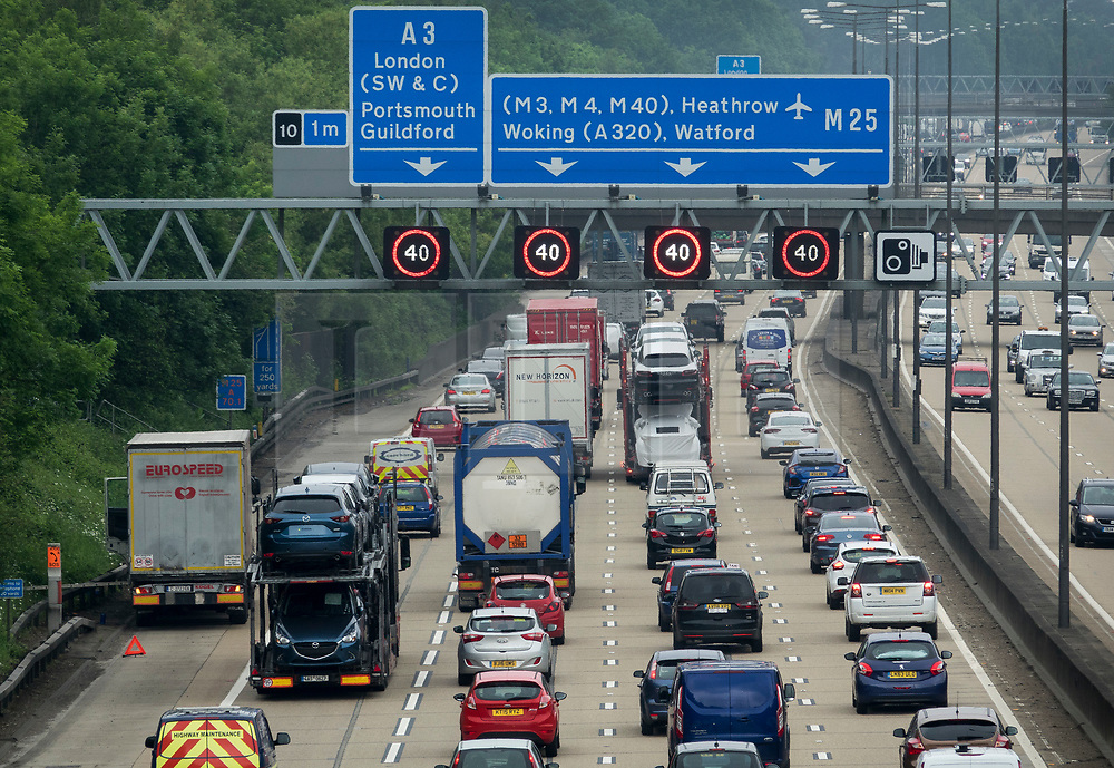© Licensed to London News Pictures. 25/05/2018. Cobham, UK. Traffic builds up on M25 near Cobham services as the bank holiday weekend begins. Photo credit: Peter Macdiarmid/LNP