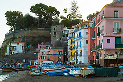 Sorrento, Italy, September 15 2017. Boats on the shore at Marina Grande in Sorrento, Italy. © Paul Davey