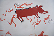 Close up of a recontructed fresco of an original found at Catalhoyuk. The men are hunting an animal. Reconstructed houses, Painted by Mutlu Gundiler. 7500 BC to 5700 BC, Catalyhoyuk Archaeological Site, Çumra, Konya, Turkey .<br /> <br /> If you prefer to buy from our ALAMY PHOTO LIBRARY  Collection visit : https://www.alamy.com/portfolio/paul-williams-funkystock/catalhoyuk-site-turkey.html<br /> <br /> Visit our TURKEY PHOTO COLLECTIONS for more photos to download or buy as wall art prints https://funkystock.photoshelter.com/gallery-collection/3f-Pictures-of-Turkey-Turkey-Photos-Images-Fotos/C0000U.hJWkZxAbg