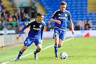 Cardiff City's Craig Noone (r) and Stuart O'Keefe go on the attack. Skybet football league championship match, Cardiff city v Ipswich Town at the Cardiff city stadium in Cardiff, South Wales on Saturday 12th March 2016.<br /> pic by Carl Robertson, Andrew Orchard sports photography.