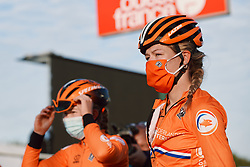 Karlijn Swinkels (NED) on the start line at the 2020 UEC Road European Championships - Under 23 Women Road Race, a 81.9 km road race in Plouay, France on August 26, 2020. Photo by Sean Robinson/velofocus.com