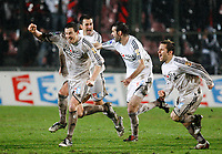 Fotball<br /> Frankrike<br /> Foto: DPPI/Digitalsport<br /> NORWAY ONLY<br /> <br /> FOOTBALL - FRENCH LEAGUE CUP 2008/2009 - 1/2 FINAL - OGC NICE v VANNES OC - 04/02/2009 - JOY VANNES PLAYERS AFTER THE WINNING PENALTY