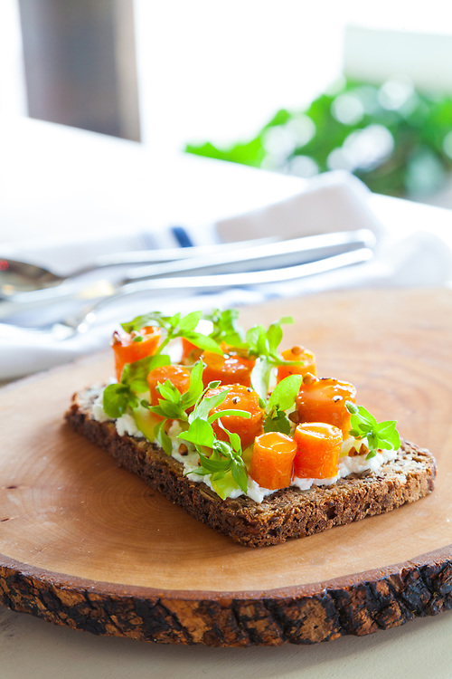 Spiced Carrot Smorreboard with Fresh Cheese, apple and Buckwheat, at Farmer's Apprentice