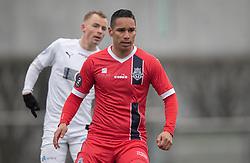 Christopher Cortez (FC Helsingør) under træningskampen mellem FC Roskilde og FC Helsingør den 15. februar 2020 i Roskilde Idrætspark (Foto: Claus Birch).