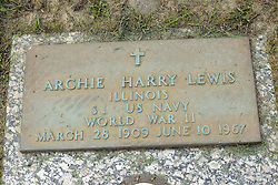 31 August 2017:   Veterans graves in Park Hill Cemetery in eastern McLean County.<br /> <br /> Archie Harry Lewis  Illinois  S1 US Navy  World War II  March 28 1909  June 10 1967