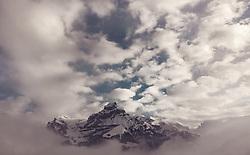 THEMENBILD - der Berg Hahnen in den Wolken, aufgenommen am 14. Dezember 2018 in Engelberg, Schweiz // the mountain Hahnen in the clouds, Engelberg, Switzerland on 2018/12/14. EXPA Pictures © 2018, PhotoCredit: EXPA/ JFK