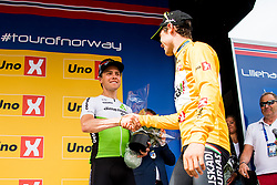 May 20, 2018 - Lillehammer, NORWAY - 180520 Edvald Boasson Hagen of Norway and Eduard Prades Reverter of Spain during the award ceremony after the last stage of the Tour of Norway on May 20, 2018 in Lillehammer..Photo: Jon Olav Nesvold / BILDBYRÃ…N / kod JE / 160254 (Credit Image: © Jon Olav Nesvold/Bildbyran via ZUMA Press)