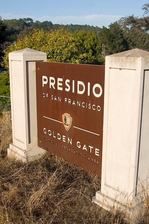 Presidio sign in San Francisco, CA