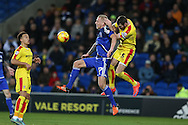 Lex Immers of Cardiff city is challenged by Kirk Broadfoot of Rotherham ®. Skybet football league championship match, Cardiff city v Rotherham Utd at the Cardiff city stadium in Cardiff, South Wales on  Saturday 23rd January 2016.<br /> pic by  Andrew Orchard, Andrew Orchard sports photography.