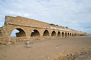 Israel, coastal plains, north of Caesarea, Remains of the Roman Aqueduct that carried fresh water from the Carmel Mountains to the city of Caesarea Maritima