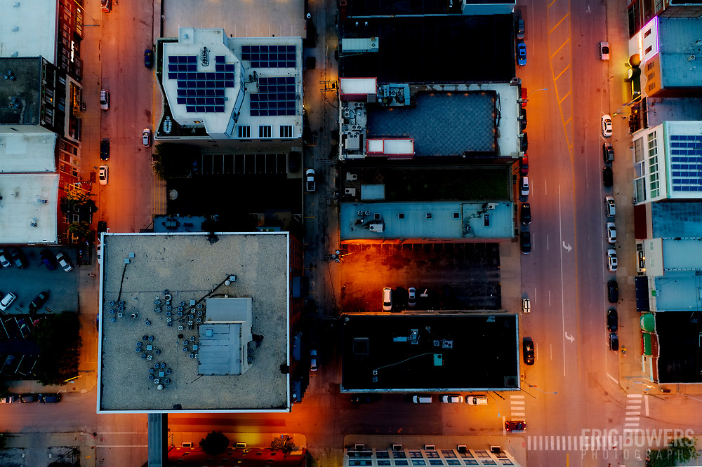 City street grid view approximately 150 feet above ground level; Grand Avenue at right, Walnut Street at left, one block south of Truman Road, Crossroads District Area, Kansas City, Missouri.