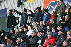 Fans at the The Falkirk Stadium for the Queen of the South game. Falkirk 3 v 1 Queen of the South, Scottish Championship game played 27/3/2016 at The Falkirk Stadium.