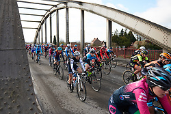 Ruth Winder (USA) in the bunch at Le Samyn des Dames 2019, a 101 km road race from Quaregnon to Dour, Belgium on March 5, 2019. Photo by Sean Robinson/velofocus.com