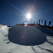 The view of the half pipe at Cardrona during the Men's Half Pipe Finals at the Burton New Zealand Open 2011 held at Cardrona Alpine Resort, Wanaka, New Zealand, 13th August 2011. Photo Tim Clayton