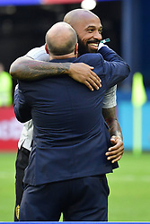 July 14, 2018 - Saint Petersbourg, Russie - SAINT PETERSBURG, RUSSIA - JULY 14 : Thierry Henry ass. coach of Belgian Team and Bart Verhaeghe Vice President of Royal Belgian Football Federation pictured during the FIFA 2018 World Cup Russia Play-off for third place match between Belgium and England at the Saint Petersburg Stadium on July 14, 2018 in Saint Petersburg, Russia, 14072018 (Credit Image: © Panoramic via ZUMA Press)