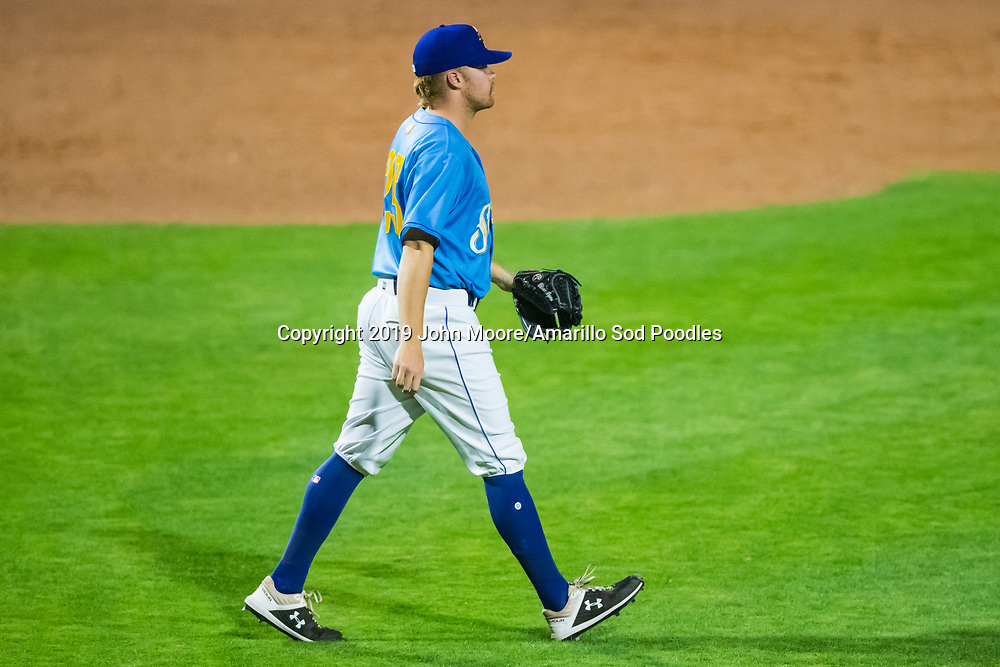 Amarillo Sod Poodles pitcher Blake Rogers (25) against the Tulsa Drillers during the Texas League Championship on Wednesday, Sept. 11, 2019, at HODGETOWN in Amarillo, Texas. [Photo by John Moore/Amarillo Sod Poodles]