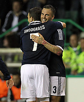 Football - Challenge Match -  Scotland vs. Australia<br /> <br /> Daniel Fox of Scotland is congratulated on his cross that led to an own goal during the Vauxhall International Challenge match at Easter Road, Edinburgh on August 15th 2012<br /> <br /> Ian MacNicol/Colorsport
