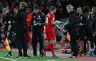 Jordan Henderson of Liverpool goes off injured during the English Premier League match at Anfield Stadium, Liverpool. Picture date: December 31st, 2016. Photo credit should read: Lynne Cameron/Sportimage