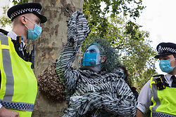 A climate activist from the Ocean Rebellion and Extinction Rebellion prepares to take part in a colourful Marine Extinction March on 6 September 2020 in London, United Kingdom. The activists, who are attending a series of September Rebellion protests around the UK, are demanding environmental protections for the oceans and calling for an end to global governmental inaction to save the seas.