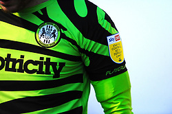 Forest Green Rovers prototype t-shirt made from used coffee grounds  - Mandatory by-line: Nizaam Jones/JMP - 27/02/2021 - FOOTBALL - The innocent New Lawn Stadium - Nailsworth, England - Forest Green Rovers v Colchester United - Sky Bet League Two