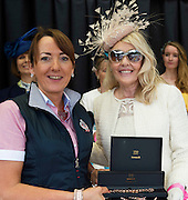17/08/2016 Ann Gorham from the Celtic Shop in Clifden presenting Lisa Burwell from Florida with her runner up prize of a Newbridge Rose Gold Necklace and Bracelet  at the 93rd Connemara Pony Show in Clifden. Photo:Andrew Downes, XPOSURE