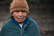 Indian woman Agustina Guaman<br /> Pulingue San Pablo community<br /> Chimborazo Province<br /> Andes<br /> ECUADOR, South America
