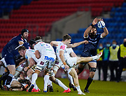 Sale Sharks lock Lood De Jager stretches to try to charge down a kick from Exeter Chiefs scrum-half Jack Maunder during a Gallagher Premiership Round 11 Rugby Union match, Friday, Feb 26, 2021, in Eccles, United Kingdom. (Steve Flynn/Image of Sport)