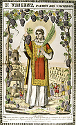 St Vincent. Christian deacon from Saragossa, martyred under Diocletian c.304. Patron saint of drunkards and winegrowers. 19th century French coloured woodcut.