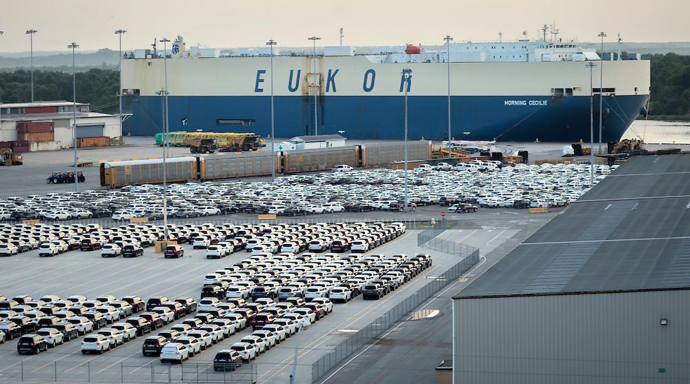 Toyota cars and WWL RoRo on Ocean Terminal at the Georgia Ports Authority, Friday, June, 26, 2015, in Savannah, Ga.  (GPA Photo/Stephen B. Morton)