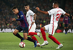 October 20, 2018 - Barcelona, Catalonia, Spain - Philippe Coutinho and Mercado during the match between FC Barcelona and Sevilla CF, corresponding to the week 9 of the Liga Santander, played at the Camp Nou, on 20th October 2018, in Barcelona, Spain. (Credit Image: © Joan Valls/NurPhoto via ZUMA Press)