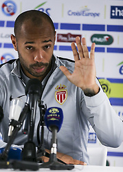 October 20, 2018 - Strasbourg, France - Monaco's French Coach Thierry Henry speaks during a press conference following the French L1 football match between Strasbourg (RCSA) and Monaco on October 20, 2018 at the Meinau stadium in Strasbourg, eastern France. Thierry Henry suffered defeat in his first match as a head coach when his 10-man Monaco side slumped to a 2-1 loss at Strasbourg to drop into the Ligue 1 relegation zone, while Paris Saint-Germain eased to a 10th straight victory to start their title defence. (Credit Image: © Elyxandro Cegarra/NurPhoto via ZUMA Press)